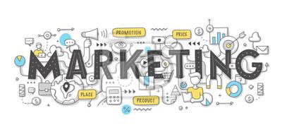 Fototapeta Koncepcja marketingu słowo Doodle