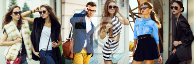 Fototapeta Koncepcja mody urody kobiet i mężczyzn. Kolaż młodych kobiet i mężczyzn w okularach ubranych w modne ubrania, makijaż i akcesoria. Ścieśniać. ulica strzał