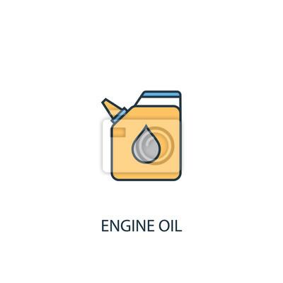 17920bf76a045f Fototapeta koncepcja oleju silnikowego 2 kolorowe ikony linii. Prosta żółta  i niebieska ilustracja elementu.