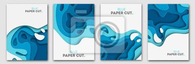 Fototapeta Koncepcja projektowania wycinków na ulotki, prezentacje i plakaty. Sztuka abstrakcyjna carvingowa. Białe i niebieskie trójwymiarowe pionowe banery warstwowe.
