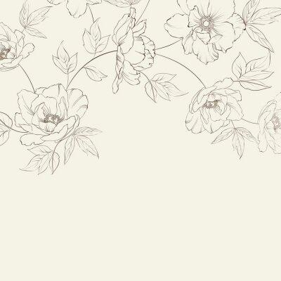 Fototapeta Konstrukcja karty zabytkowe kwiatu.