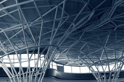 Fototapeta Konstrukcja stalowa pod dachem budynku, monochromatycznych