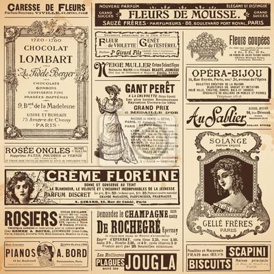 Fototapeta Kontekst / wzory wykonane z rocznika francuski reklam damskich na tematy
