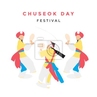 Fototapeta korean traditional dance with chuseok festival