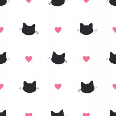 Fototapeta kot głowa serce wektor wzór