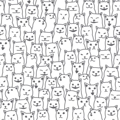 Fototapeta Kot kotek rasy doodle wektor wzór bezszwowe na białym tle tapeta tło białe