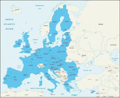 Fototapeta Kraje członkowskie Unii Europejskiej na mapie