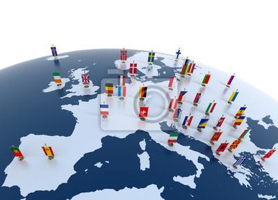 Fototapeta Kraje europejskie - kontynent oznaczone flagami
