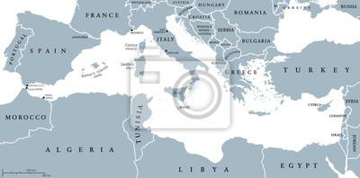 Fototapeta Kraje Morza Srodziemnego Region Polityczna Mapa Z