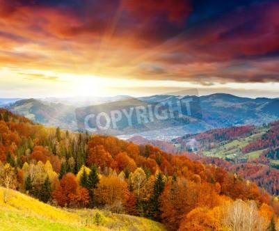 Fototapeta krajobraz górski jesień z kolorowych lasów