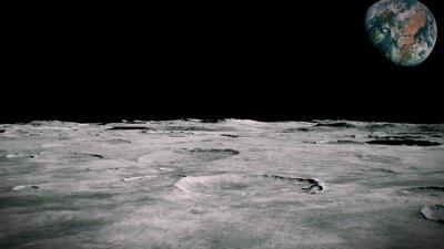 Fototapeta Krajobraz powierzchni Księżyca. Latanie nad powierzchnią Księżyca. Zamknąć widok. Renderowanie 3D
