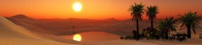 Fototapeta Krajobraz pustyni Oasis ze stawem, palmy i kamienie