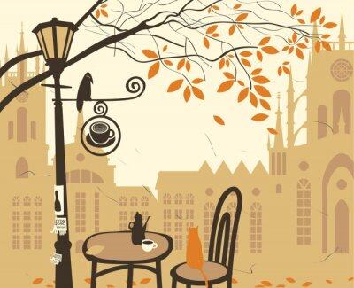 Fototapeta krajobraz starego miasta z kawiarni ulicy