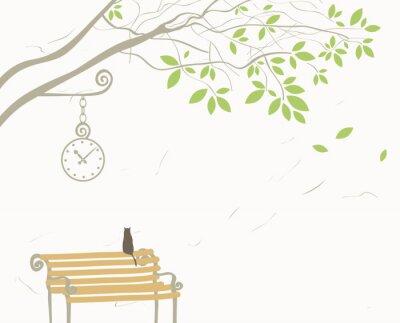 krajobraz z drzewa i kot na ławce