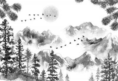Fototapeta Krajobraz z tuszem z gór i jodły
