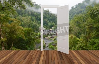 Fototapeta Krajobraz za otwierającymi drzwiami, 3D