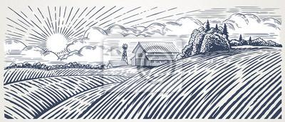 Fototapeta Krajobrazu wiejskiego z gospodarstwa w stylu grawerowania. R? Cznie rysowane i przeliczone na ilustracji wektorowych