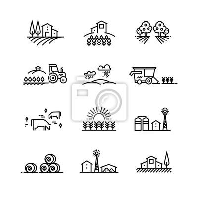 Fototapeta Krajobrazy linii wiejskich z polami rolnymi i budynkami gospodarczymi. Liniowe koncepcje rolnictwa