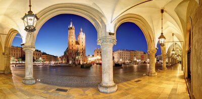 Fototapeta Kraków, Kraków Rynek w nocy, katedra, Polska