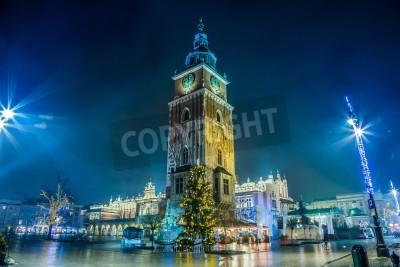 Fototapeta Krakow old city at night. Market Square at night.