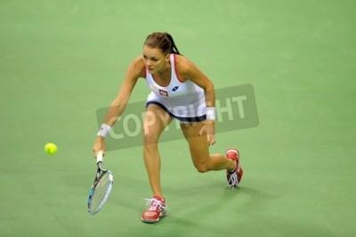 Fototapeta KRAKÓW, POLSKA - 07 lutego 2015: Agnieszka Radwańska podczas Fed Cup tenis w Polsce