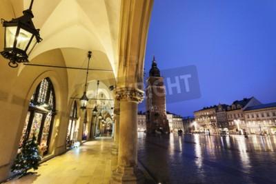 Fototapeta Kraków Rathaus Wieża widziana z arkadami Sukiennic. Kraków, Polska