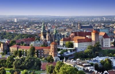 Fototapeta Kraków skyline z lotu ptaka historycznego centrum królewskiego Wawelu oraz miasta