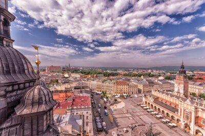Fototapeta Kraków Stare Miasto pod błękitne niebo widziane z góry