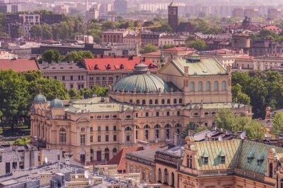 Fototapeta Kraków Stare Miasto z teatru Słowackiego sen z góry