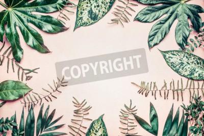 Fototapeta Kreatywny charakter ramki wykonane z tropikalnej palmy i liści paproci na tle pastelowe, widok z góry