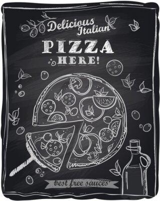 Fototapeta Kreda pizza z odcięty kawałek.