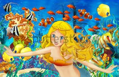 Fototapeta Kreskówka ocean i syrenka w podwodnym królestwie pływa z rybami - ilustracja dla dzieci