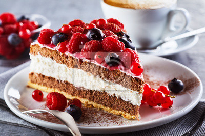 Fototapeta Kromka gourmet świeżego berry cake