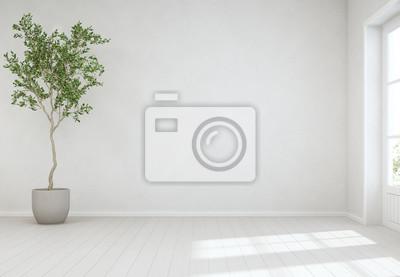 Fototapeta Kryty roślin na drewnianej podłodze z pustym białym tle ścian betonowych, drzewo w pobliżu drzwi w jasny salon nowoczesny dom skandynawski - ilustracja wnętrza domu 3d