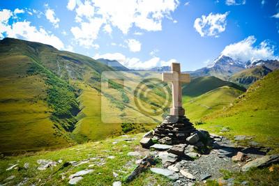 Fototapeta Krzyż na górze Kazbek