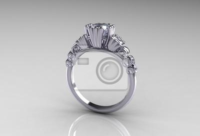 Fototapeta Księżniczka Platinum Klasyczny Pierścionek Zaręczynowy