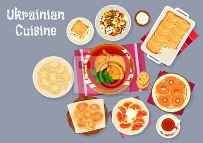Kuchnia Ukrainska Potrawy Tradycyjny Obiad Ikona Fototapety Redro