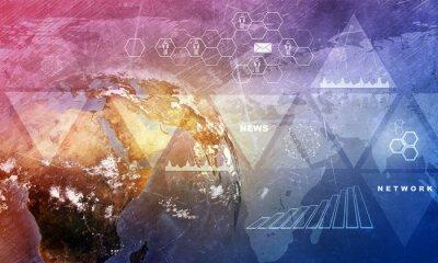 Fototapeta kuli ziemskiej z mapy świata
