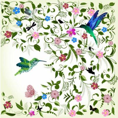 Fototapeta kwiatów tle z ptakiem