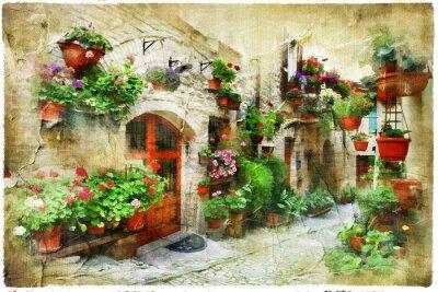 Fototapeta Kwiatowe ulice Spello, Umbria, Włochy. artystyczny obraz