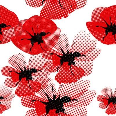 Fototapeta kwiatowy bez szwu z makiem