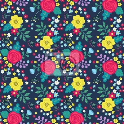 537cde3f36aef0 Kwiatowy kolorowy wzór z czerwone i żółte róże i niebieskie kwiaty i  zielone liście na ciemnym