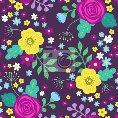 3a5a11a7754f7a Kwiatowy kolorowy wzór z fioletowe i żółte róże i niebieskie kwiaty i  zielone liście na ciemnym