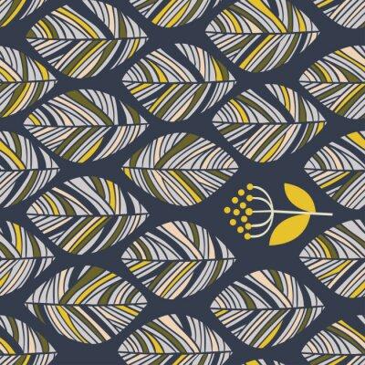 Fototapeta Kwiatowy liniowy wzór dekoracyjny bez szwu. Scribble tło z liśćmi. Tekstura tkanina konturowa. Ręcznie rysowane szablon dla projektu