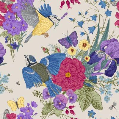 Fototapeta Kwiatowy wzór. Cycki, kwiaty, motyle. Wektorowa rocznik botaniczna ilustracja.