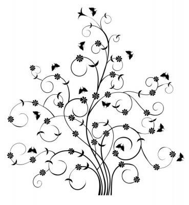 Fototapeta Kwiatowy Wzór Drzewo i Motyle-grafika