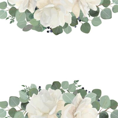 Fototapeta Kwiatowy wzór karty z ogródkiem biały, kremowa piwonia, kwiat róży, srebro Eukaliptusowy tymianek zielony liście elegancka zieleń granatowy bukiet kwiatów, ramka. Układ eleganckich zieleni wektor styl