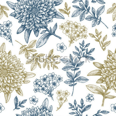 Fototapeta Kwiatowy wzór. Liniowy szkicowy kwiat elementy. Vintage odzieży tkanin. Ilustracji wektorowych