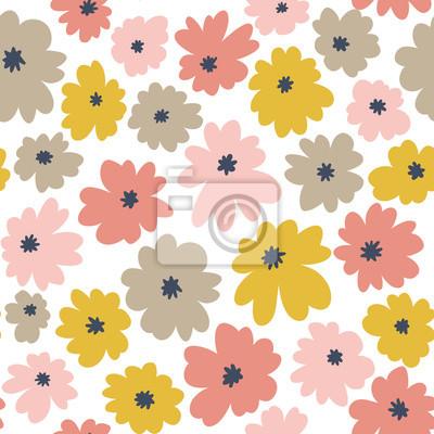 Kwiatowy wzór w stylu bazgroły z pastelowych kolorów kwiatów. Tapeta wektor.