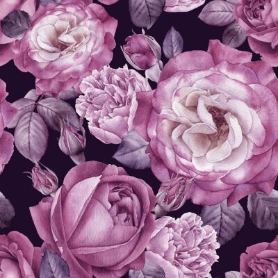 Fototapeta Kwiatowy wzór z akwarela róż i piwonie